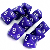 Purple & White Opaque D10 Ten Sided Dice Set